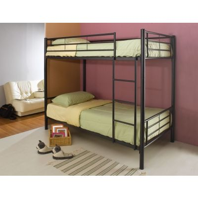 Denley Metal Twin Bunk Bed in Black - 460072B