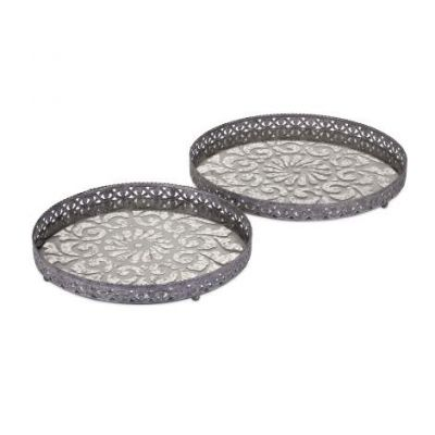 Myers Glass And Metal Trays- Set Of 2 - 47613-2