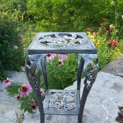 Hummingbird Table Plant Stand in Antique Pewter - 5161-AP