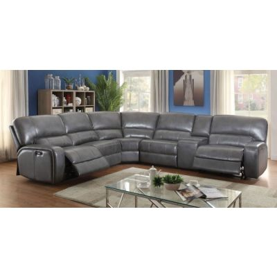 Saul Gray Leather-Aire Motion Sectional Sofa Set - 001222_Kit
