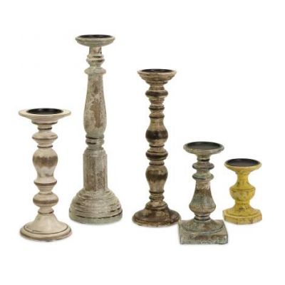 Kanan Wood Candleholders With Distressed Finish - 5544-5