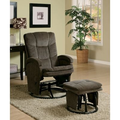 Recliner with Ottoman Reclining Glider in Chocolate Chenille