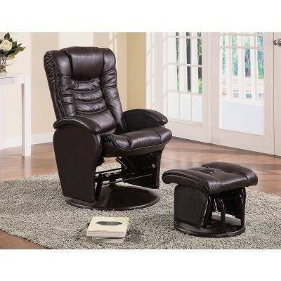 Faux Leather Glider Recliner Chair with Ottoman in Brown - 600165