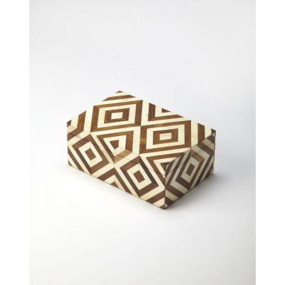 Maya Wood & Bone Inlay Storage Box - 6116338