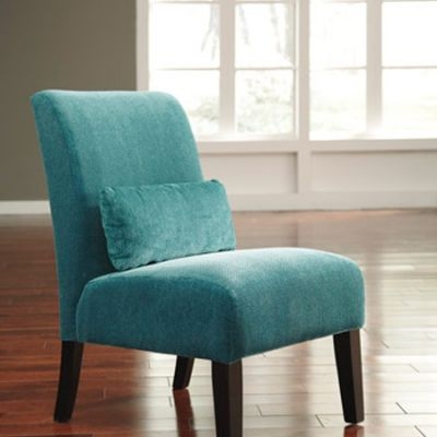 Annora Chenille Armless Accent Chair in Teal - 6160460