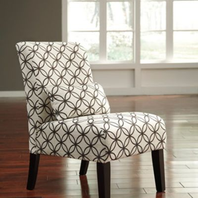 Annora Chenille Armless Accent Chair in Brown