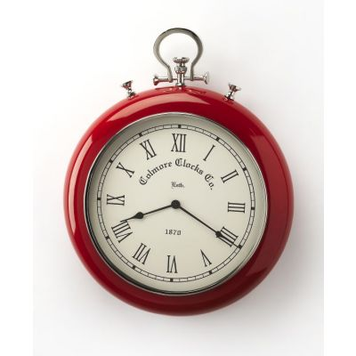 Scarlet Red & Nickel Finish Wall Clock - 6212365