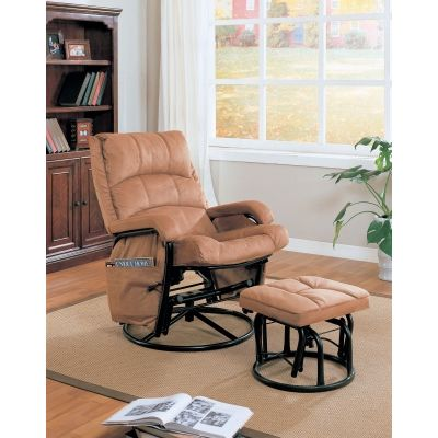Glider with Ottoman in Tan - 650005