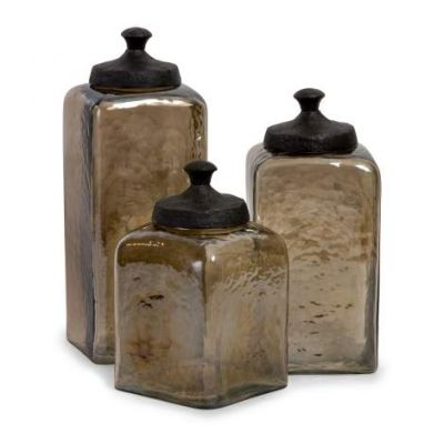 Square Brown Luster Canisters - 6975-3