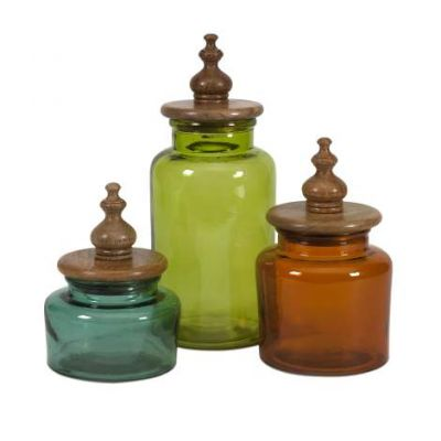 Saburo Glass And Wood Lid Canisters - 71723-3