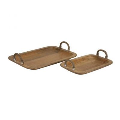 Tabari Wood Trays With Jute Handle - 71727-2