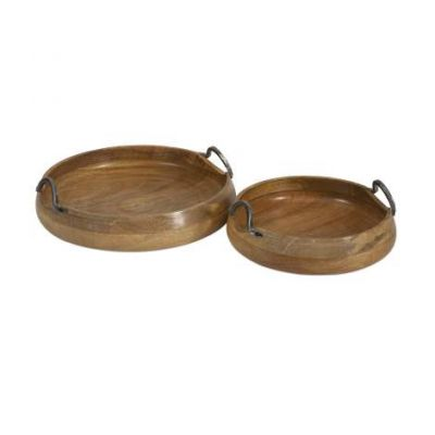 Vallari Round Wood Trays - 71730-2