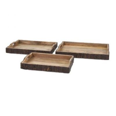 Nakato Wood Bark Serving Trays - 71822-3