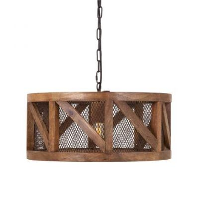 Kennedy Wood And Wire Pendant Light - 73368