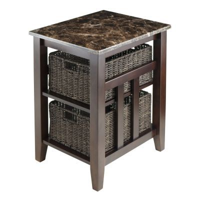 Zoey Side Table Faux Marble Top with 2 Baskets - 76320
