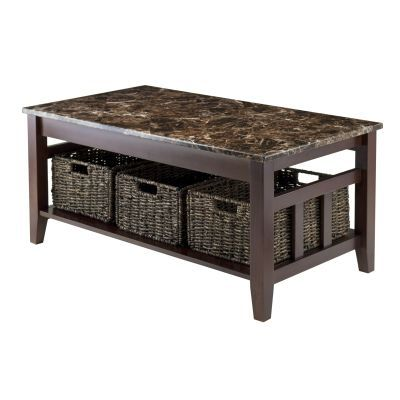 Zoey Faux Marble Top Coffee Table in Chocolate - 76337