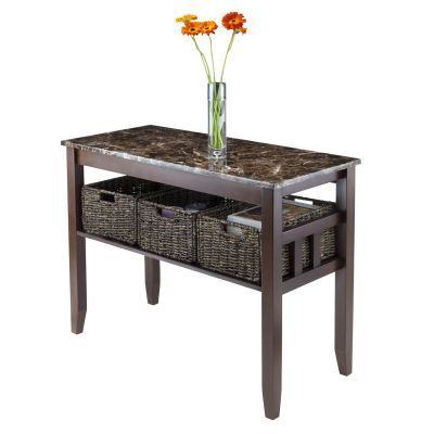 Zoey Console Table Faux Marble Top with 3 Baskets - 76342