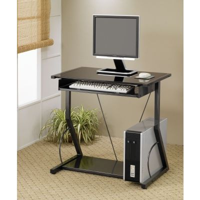 Contemporary Computer Desk with Keyboard Tray in Black - 800217