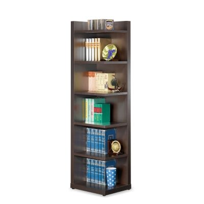Corner Bookcase with Open Side in Cappuccino - 800270