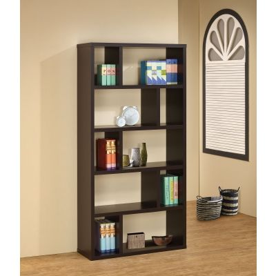 Contemporary Bookshelf with 10 Compartments in Cappuccino - 800296