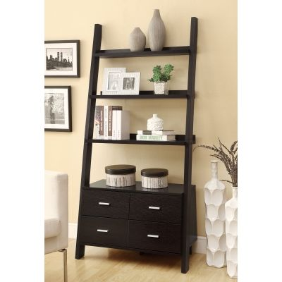 Ladder Bookshelf with 2 Drawers in Cappuccino - 800319