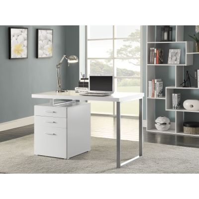 Hilliard 3 Drawer Computer Desk in White - 800325