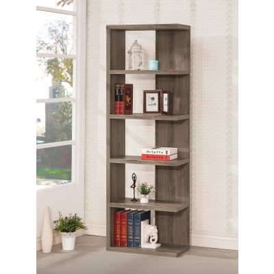 Weathered Semi-Backless Bookcase in Dark Grey - 800553