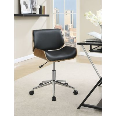 Contemporary Faux Leather Office Chair in Black - 800612