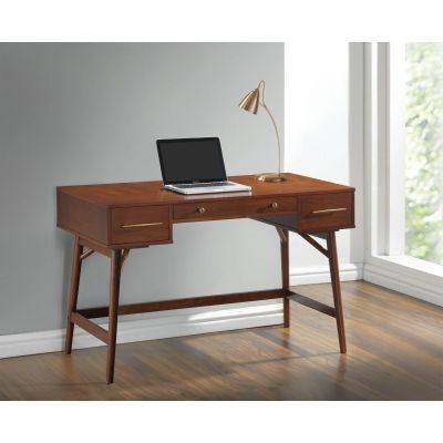 3 Drawer Mid Century Modern Writing Desk in Walnut - 800744