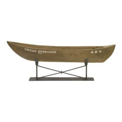 Vintage River Canoe On Metal Stand - 84310