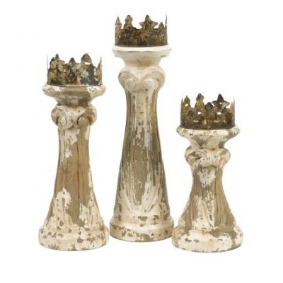 Feliciano Hand Carved Wood Candleholders - 84336-3