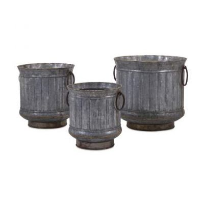 Griffin Galvanized Planters With Brass Edging - 84851-3