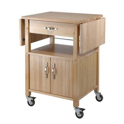 Block Kitchen Cart with Drop Leaf in Natural Finish - 84920