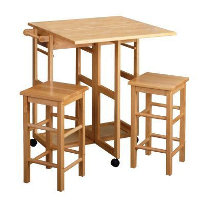Suzzane Drop Leaf Table with 2 Stools in Natural Finish - 89330