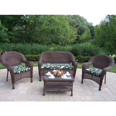 Resin Wicker 4 Piece Outdoor Seating Set With Cushions - 90027-4-BF-CF
