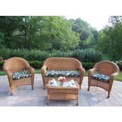 Resin Wicker 4 Piece Outdoor Seating Set With Cushions - 90027-4-BF-NT