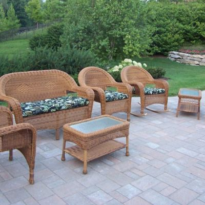 Resin Wicker 7 Piece Outdoor Seating Set With Cushions - 90027-7-BF-NT