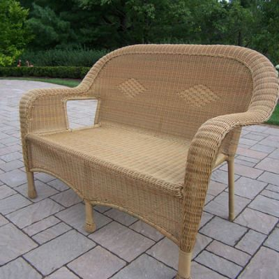 Resin Wicker Loveseat in Honey - 90027-L-HN