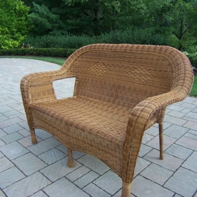Resin Wicker Loveseat in Natural - 90027-L-NT
