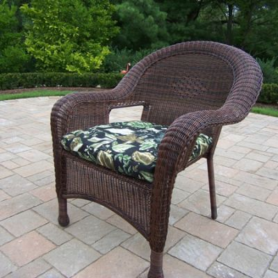 Pair Of Resin Wicker Arm Chair With Cushions (Set Of  2) - 90030-C-BF-CF