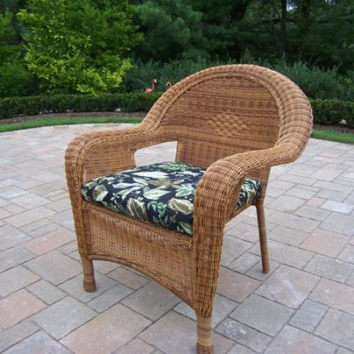 Pair Of Resin Wicker Arm Chair With Cushions (Set Of  2) - 90030-C-BF-NT