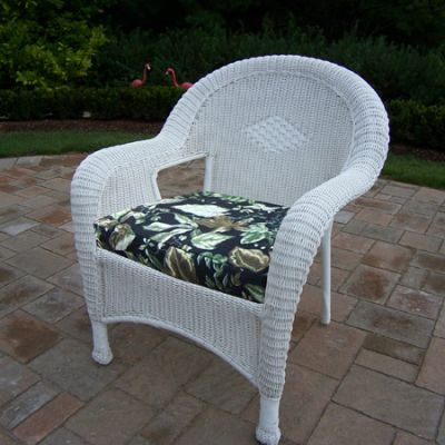 Pair Of Resin Wicker Arm Chair With Cushions (Set Of  2) - 90030-C-BF-WT