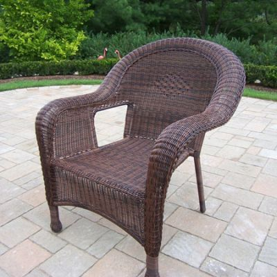 Pair Of Resin Wicker Arm Chair (Set Of  2) - 90030-C-CF