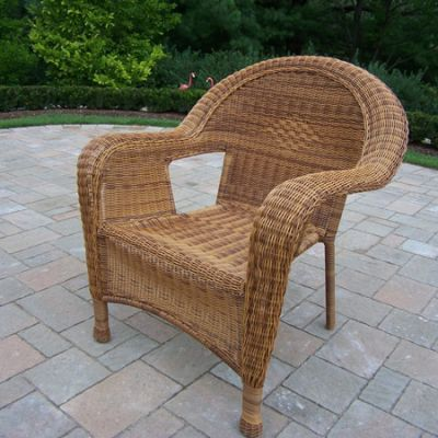 Pair Of Resin Wicker Arm Chair (Set Of  2) - 90030-C-NT
