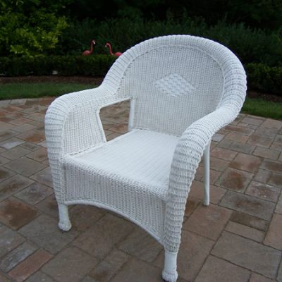 Pair Of Resin Wicker Arm Chair (Set Of  2) - 90030-C2-WT