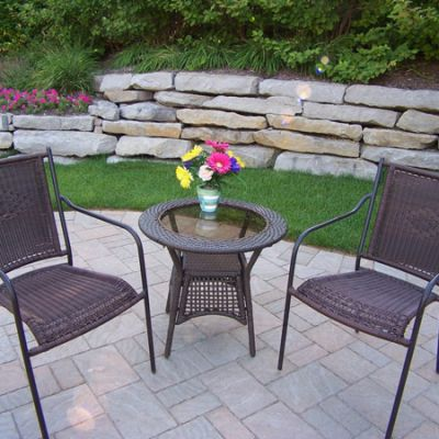 Resin Wicker 3 Piece Patio Set - 90047-C-90048-T-3-CF