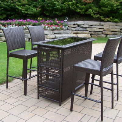 Elite Resin Wicker 5-Piece Patio Bar Set - 90053-90054-5-CF