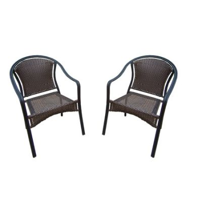 Pair Of Tuscany Stackable Wicker Chair With Round Backs - 90079-C2-BK