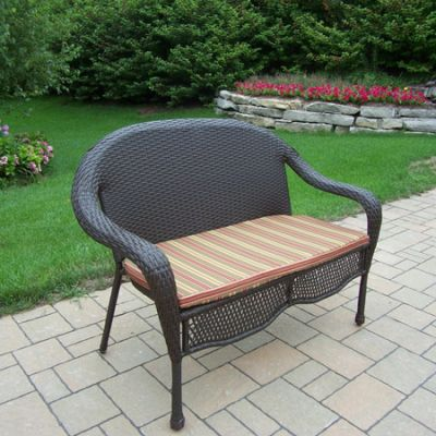 Elite Resin Wicker Loveseat With Cushion - 90092-L-CF-CUGR
