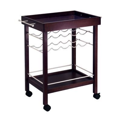 Ten Bottle Wine Cart with Mirror Top in Espresso - 92329